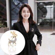 Fashion Creative Animal Brooch Personality Men And Women Rhinestones Sika Deer Metal Badge Female Charm Jewelry Gift