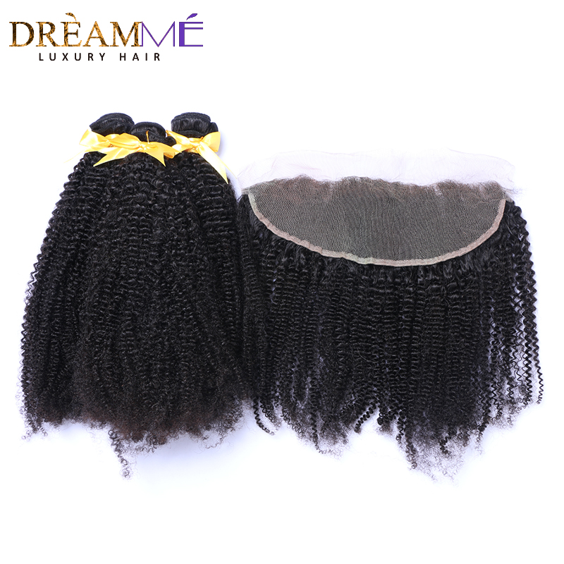 Mongolian Afro Kinky Curly Hair Bundles With13x4 Lace Frontal Closure Weave Human Hair 3 Bundles With