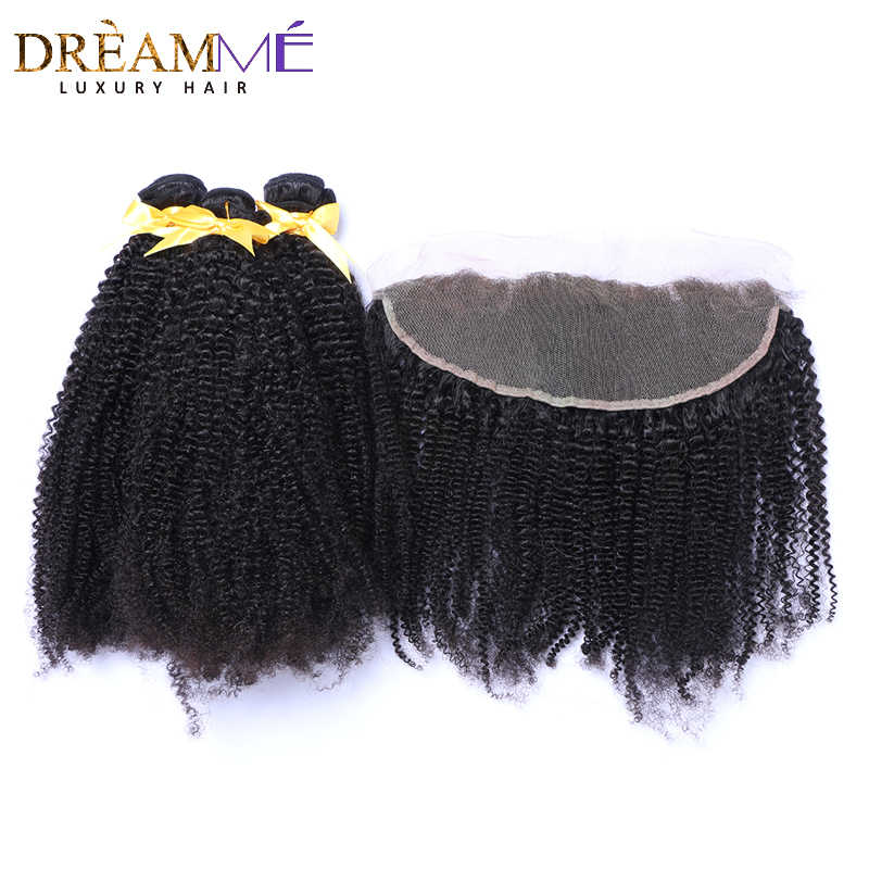 Mongolian Afro Kinky Curly Hair Bundles With13x4 Lace Frontal Closure Weave Human Hair 3 Bundles With Closure Remy Hair Dreaming
