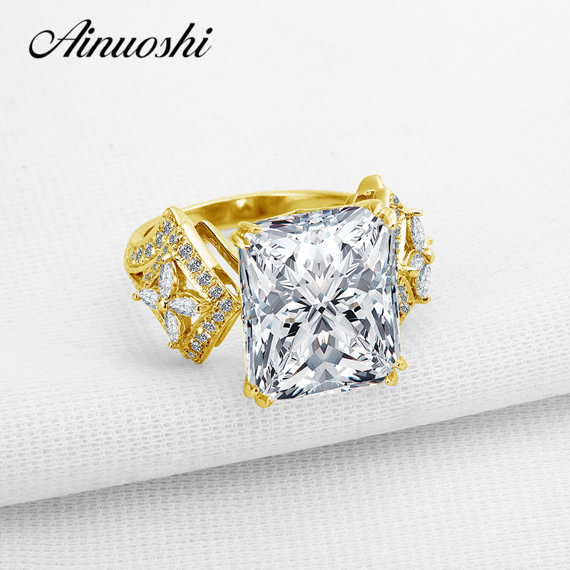 AINUOSHI Luxury 6 Carat Flower Wedding Ring 14K Solid White Yellow Gold Band Rectangle Cut Simulated
