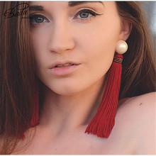Badu Red Tassel Earrings Women Long Fringe Gold Stud Bohemian Style Fashion Jewelry Vintage Exaggerated for Christmas