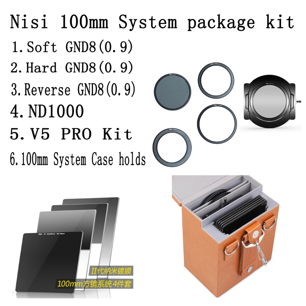 NiSi 100mm V5 PRO Kit +100*100mm DN1000+100*150mm Soft +hard+reverse GND8(0.9) filter+100mm System all in one case holds