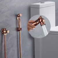 single cold rose gold bidet spray Toilet Bathroom brass Handheld Diaper Sprayer Shower Set Shattaf Bidet Sprayer faucet