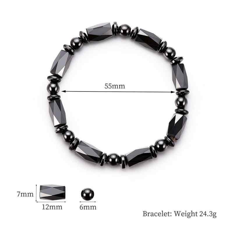 Потеря веса круглый черный из камней правильной геометрической формы магнитотерапевтический браслет для здоровья магнитного гематита растягивающийся браслет для мужчин и женщин