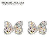 Neoglory Fashion Zirconia Kleine Leuke Vlinder Ontwerp Oorbellen voor Vrouwen Hot Mooie Geschenken Sieraden 2018 Gloednieuwe
