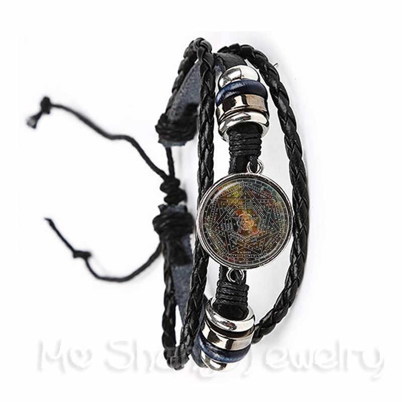 Clássico sobrenatural pentagrama pulseira de vidro gótico pingente satanismo mal ocultismo pentagrama jóias pagão charme presente