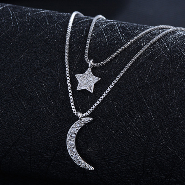 Utimtree Shiny Star Moon Sterling Silver Cubic Zircon Chokers Necklace