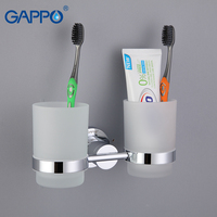 GAPPO 1 Set Zinc Alloy Cup Holder Glass Cups Wall Mount Bathroom Accessories Double Toothbrush Tooth