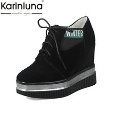 KarinLuna Women Spring sneaker Shoes Woman Vintage Lace Up Round Toe Platform casual women shoes Size 33-42