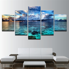 5 Pieces Canvas HD Print Calm Before The Storm Seascape Canvas Painting Office Home Decor Blue Sky Clouds Picture Wall Art Frame cheryl wolverton storm clouds