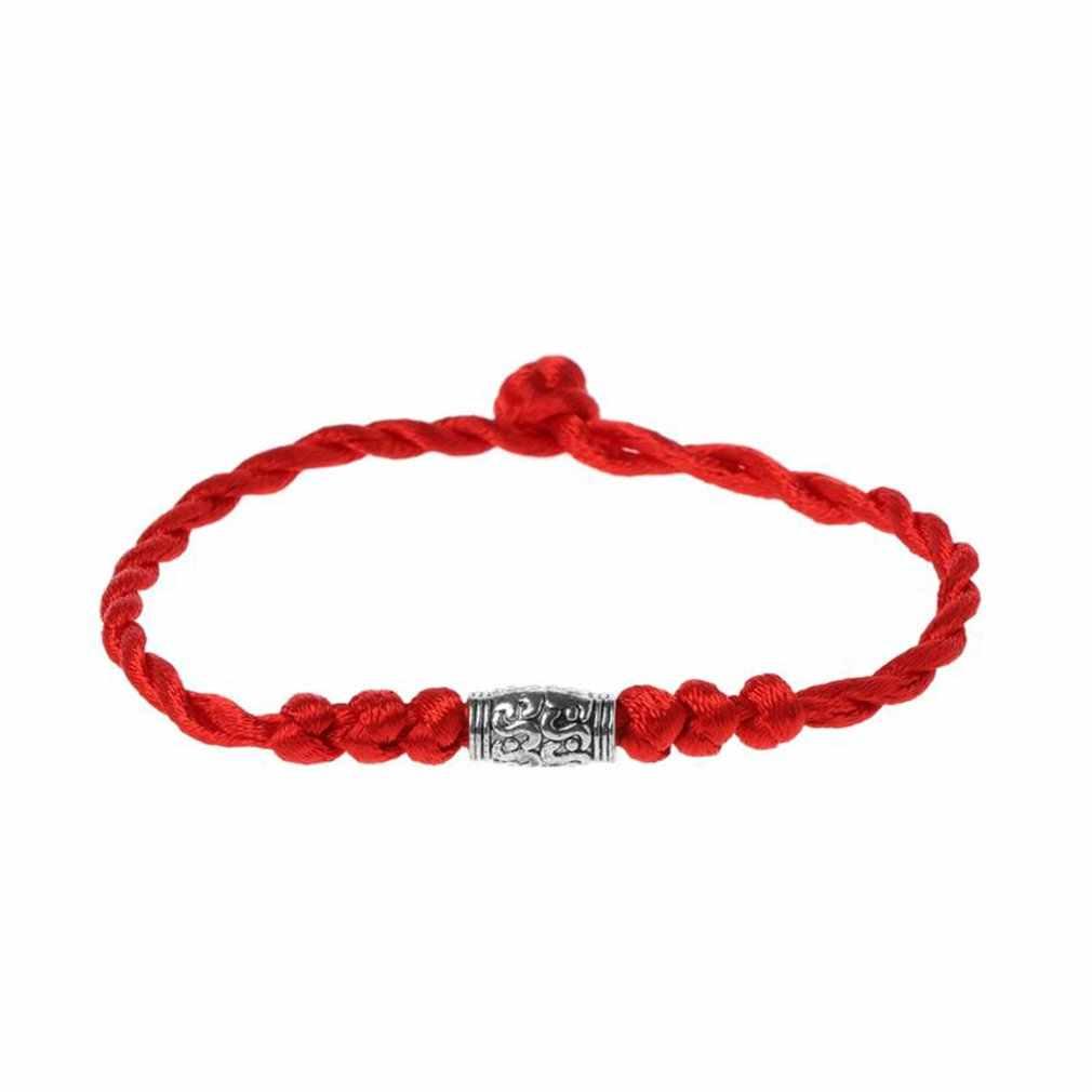 Tradizionale Tibetano Argento Filo Rosso Stringa Braccialetto Fortunato Amuleto Coppia Monili Del Braccialetto Per Le Donne Gli Uomini di Indossare