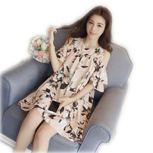 Off the Shoulder Kroean Printing Strapless Women's Chiffon Dress floral O-neck Loose Sleeveless Gift