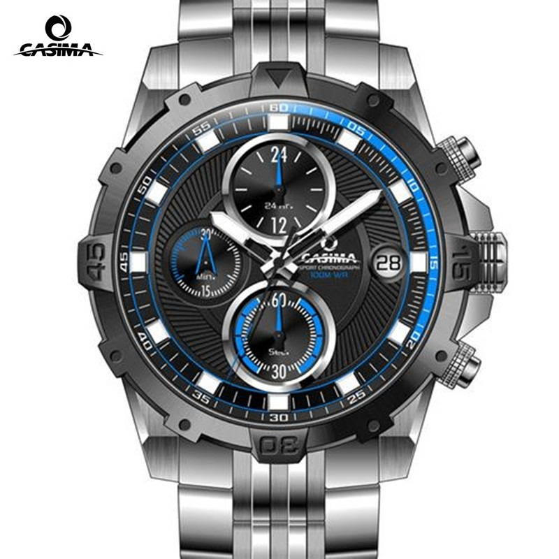 CASIMA luxury brand men's multi-functional sports watch men's business quartz watch chronograph watch light-proof watch 100M