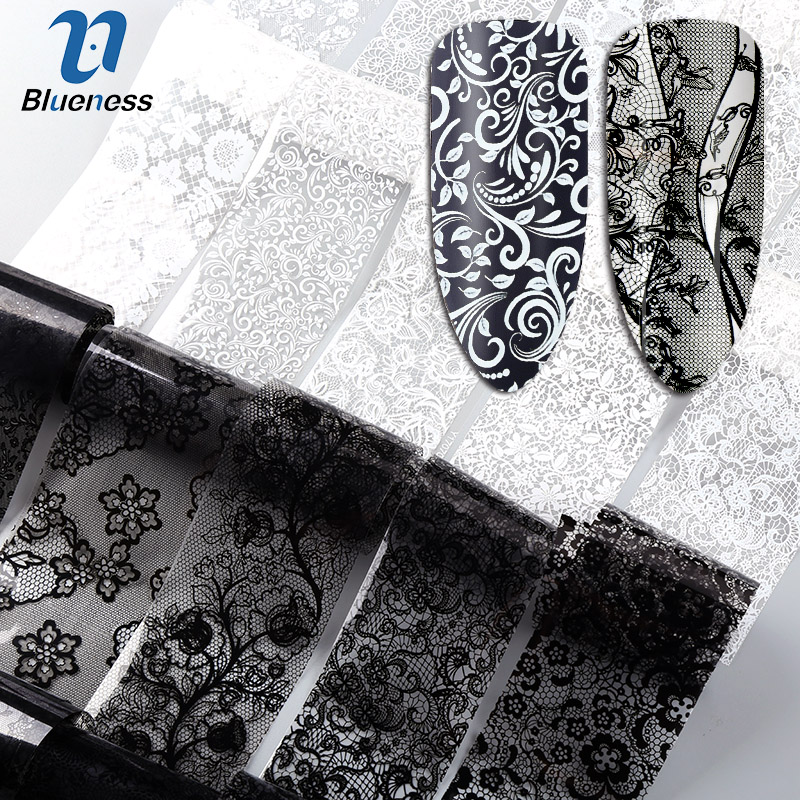 Blueness 10Roll/Set Black White Nail Foil Transfer Stickers Lace Flower Mix Design Manicure DIY Nail Art Decorations Stickers 20cm black and white lace nail sticker transfer sticker nail art foil stickers flower nail art tool