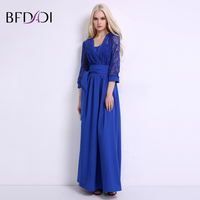 BFDADI Sexy Elegant Lace 3 4 Sleeve Women Maxi Dress New Fashion Solid Color Patchwork Casual
