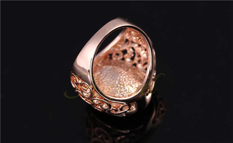 Ajojewel Размер 7 и 9, роскошное кольцо из розового золота с большим синим кристаллом, модные большие женские кольца с камнем