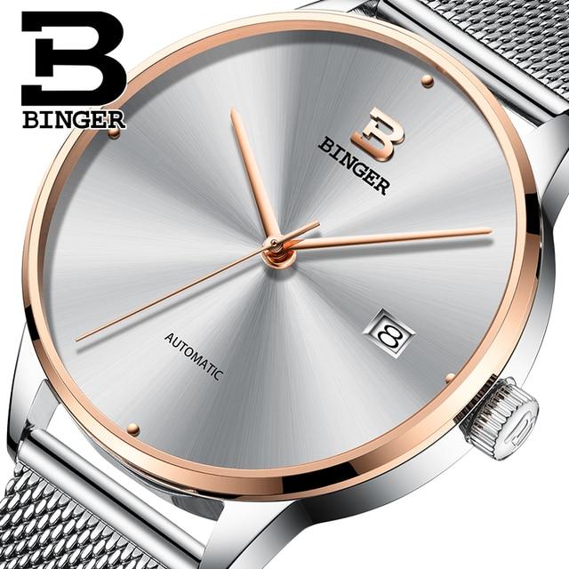 96b6a7b1927 Seiko Movimento Automático BINGER Marca de Topo Homens De Luxo Relógio  Mecânico relogio masculino relógio de
