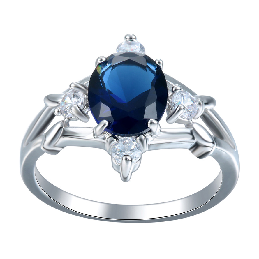 fashion silver plated cross flower finger Rings jewelry new luxury royal blue princess CZ wedding Engagement Ring for women