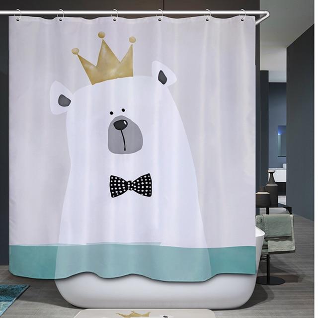 Comwarm Polyester Waterproof Shower Curtain Bathroom Cute Cartoon Bear Hippo Print Kid Bath 12 Hook Chic