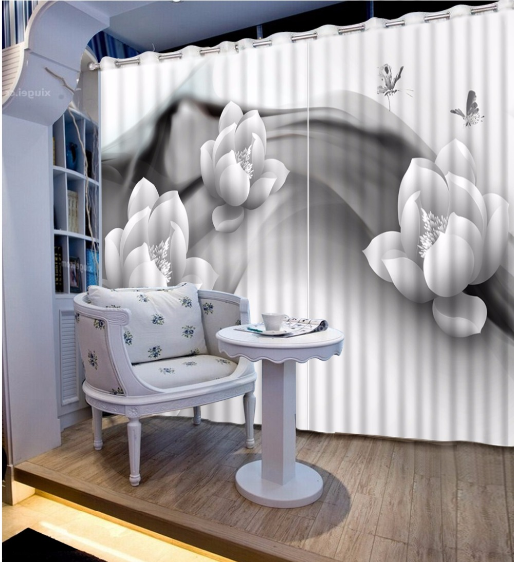 US $57.54 58% OFF|Black and White Curtains Blackout European flower  Curtains For Living room Bedroom polyester/cotton Curtain Custom Drapes-in  ...