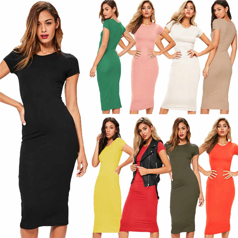 Cotton Long Autumn Party Dress Fashion Solid O-Neck Short Sleeve Office Lady Summer Dress Plus Size Slim Casual Pencil Vestidos