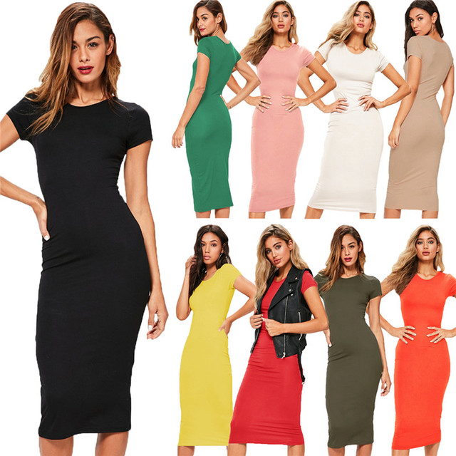 Cotton Long Spring Party Dress Fashion Solid O-Neck Short Sleeve Office Lady Summer Dress Plus Size Slim Casual Pencil Vestidos