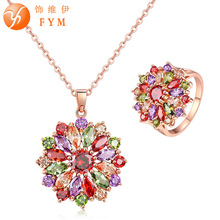 FYM Brand Big Flower Jewelry Set Rose Gold-color Multicolor AAA Cubic Zircon Necklace Earring Sets for Women Wedding Party gift blucome brand design rose gold color square cubic zircon ceramic earrings ring set chinese porcelain women wedding jewelry sets
