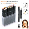 12/24/36 Colors Skin Tone Dual Tip Art Markers - Brush and Chisel Tip - Permanent Sketch Marker for Portrait