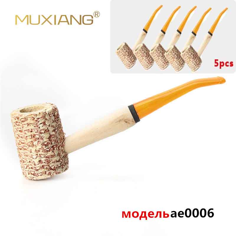 Newst RU 5 Pcs/Lot Macarthur Style Large Size Corn Cob Pipe With Yelle Acrylic Mouthpiece Wooden Smoking Pipe Tobacco Ae0006
