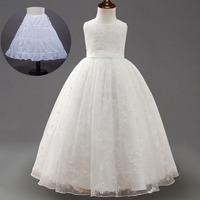 White Pink Kids Embroidered Lace Mesh Children Prom Dress for Wedding Party Gowns 3 To 10 To 12 Years Little Girls