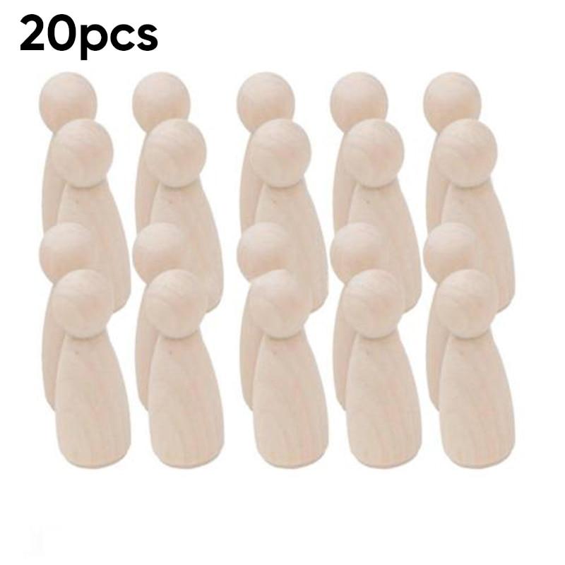 1Set Wedding Home Creative Toy Unpainted Blank Wooden Peg Dolls DIY 5//10Pcs