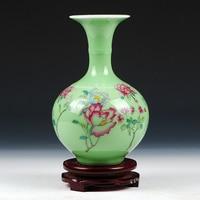 Antique Jingdezhen Celadon Peony Vase Furnishing Articles Green Glaze Peony Flower Study Decorative Ceramic Arts and Crafts