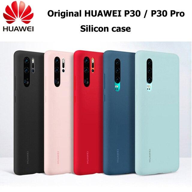 Original Huawei P30 P30 Pro กรณี HUAWEI อย่างเป็นทางการ Liquid ซิลิโคนป้องกันไมโครไฟเบอร์ด้านใน Huawei P 30 P 30Pro กรณี