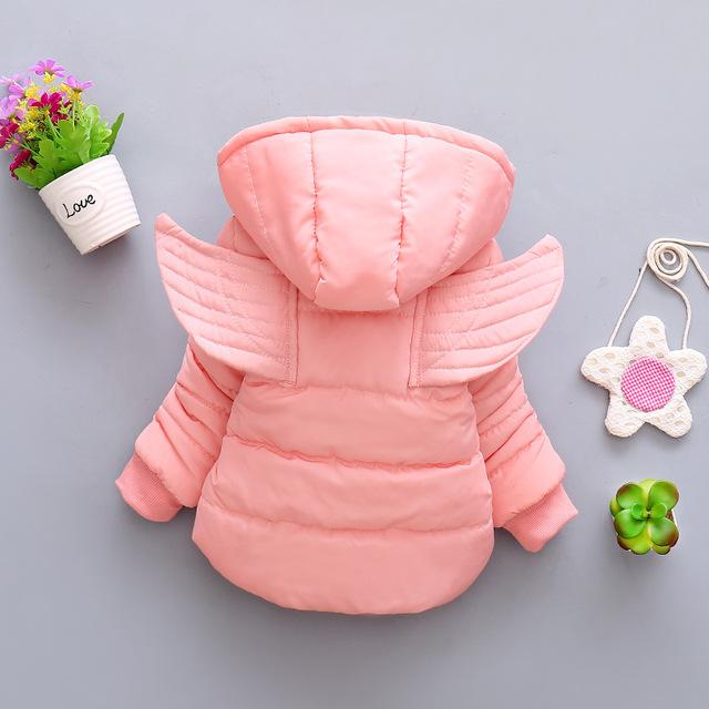 New Winter Coat Baby Girl Wing Hooded Thickness Autumn Winter Newborn Jacket  Baby Coat  8BB005