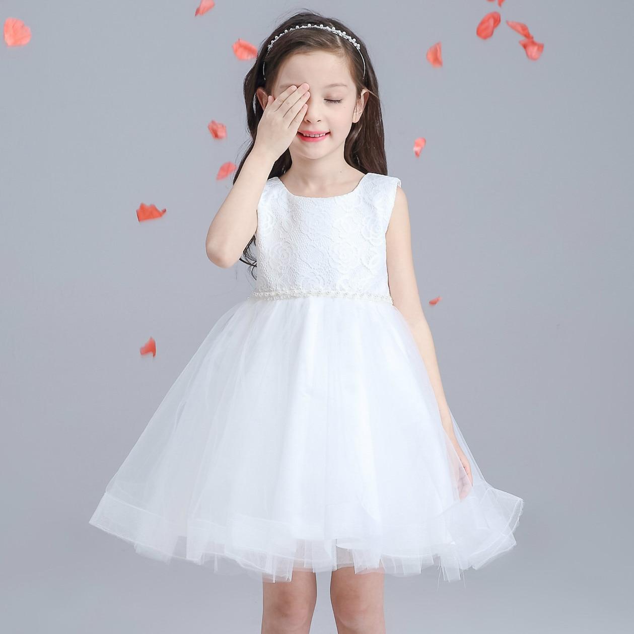wedding dress white flower girl princess vestidos party wear costume