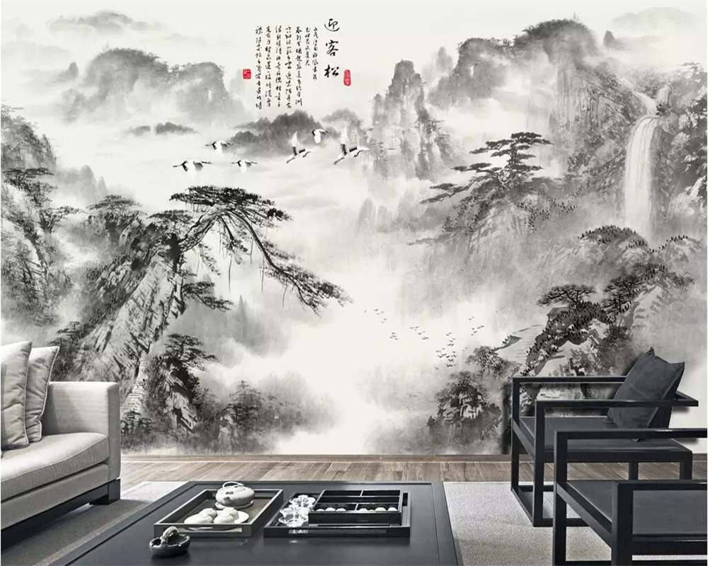 Beibehang Chinese Wallpaper Ink Welcoming Pine Mountain Water Waterfall Home Improvement TV Background Wall Murals 3d Wallpaper