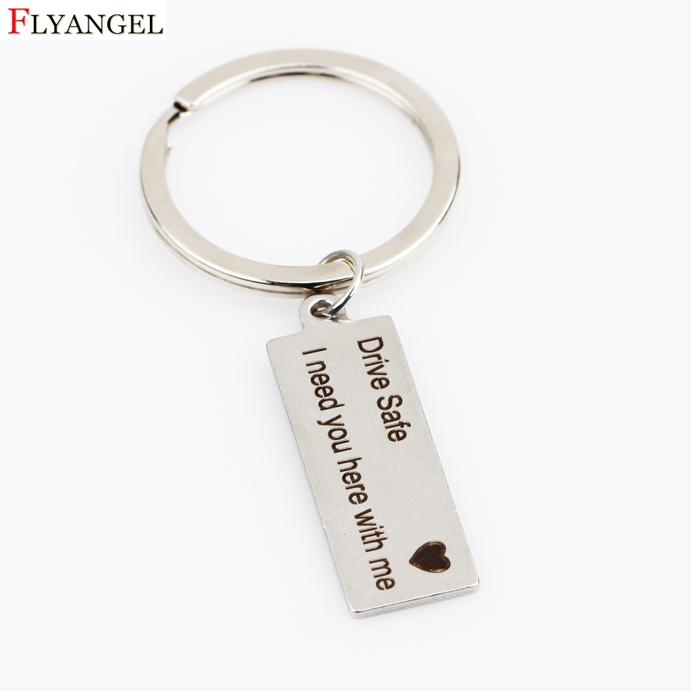 Stainless Steel Drive Safe I need you here with me Engraved Charm Keychains Key Ring for Couples Boyfriends Key Chain Gifts цена