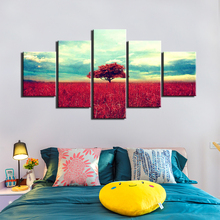 Red Tree Pictures 5 piece HD prints canvas painting grass blue sky wall art pictures for living room Bedrrom decoration F734