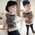 Otoño primavera infantil chicos bebé suéteres o-cuello de manga larga a rayas impreso arco ocasional rebeca de los niños suéter de punto ropa
