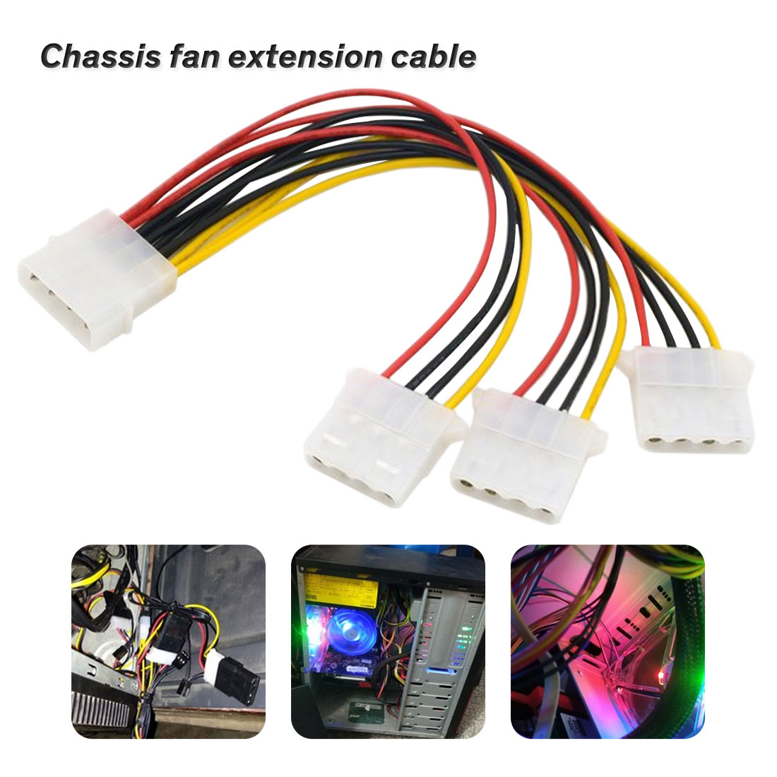 2Pcs Universal small 4 Pin to 3pin 4pin fan PWM connector extension cable HV