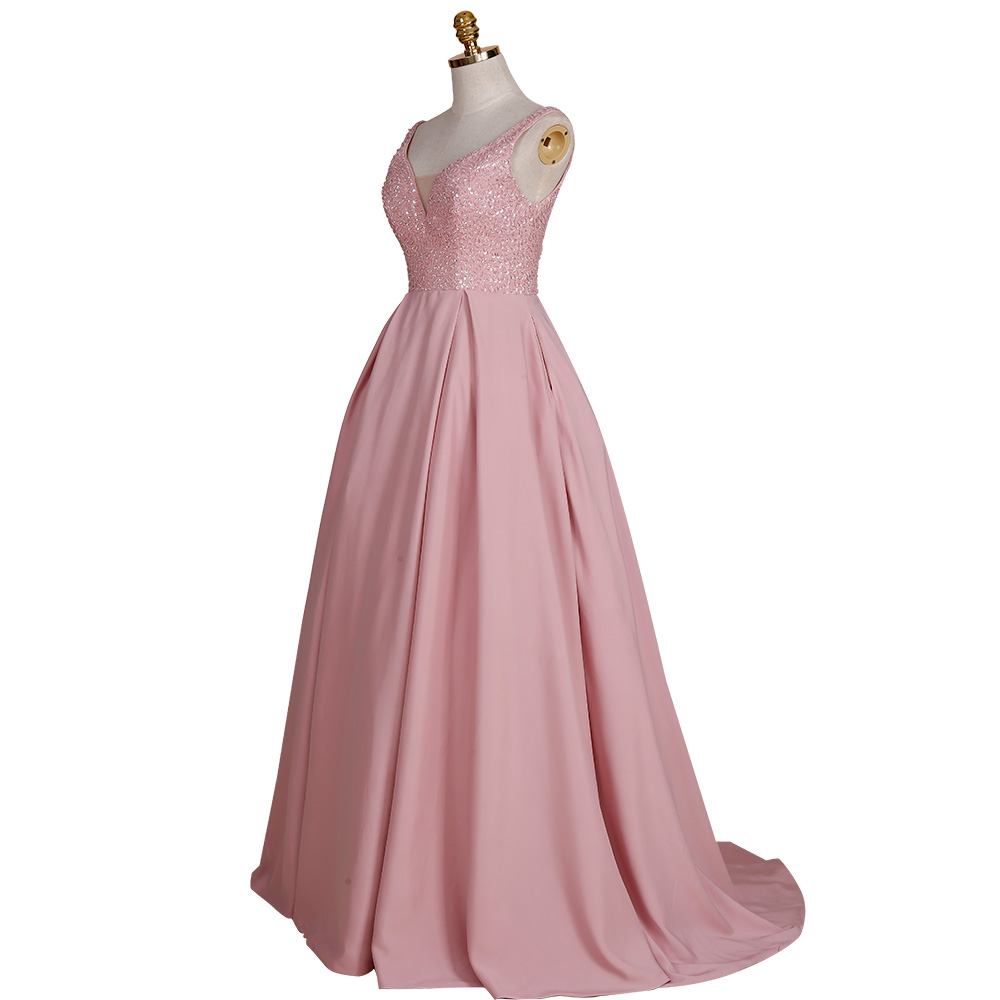 34098f8d5a6b BeryLove Elegant Ball Gown Blush Pink Evening Dresses 2018 Beaded Satin Evening  Dress Fashion Prom Dresses Formal Gowns Party-in Evening Dresses from ...