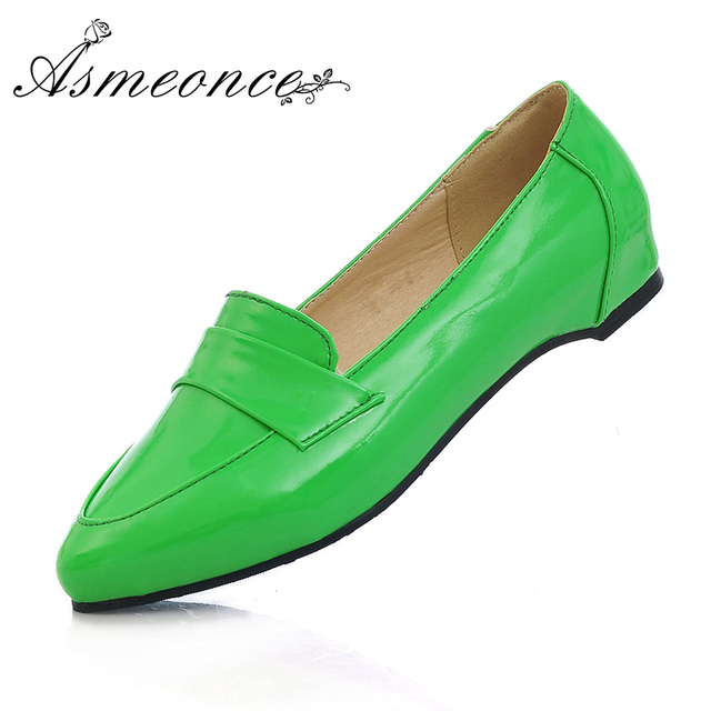 0d5834a3d6d8d8 Women Flats Lady Ballet Ballerina Patent Leather Glossy Pointed Toe Shallow  Slip on Loafers Woman Flat Shoes Big Size 43