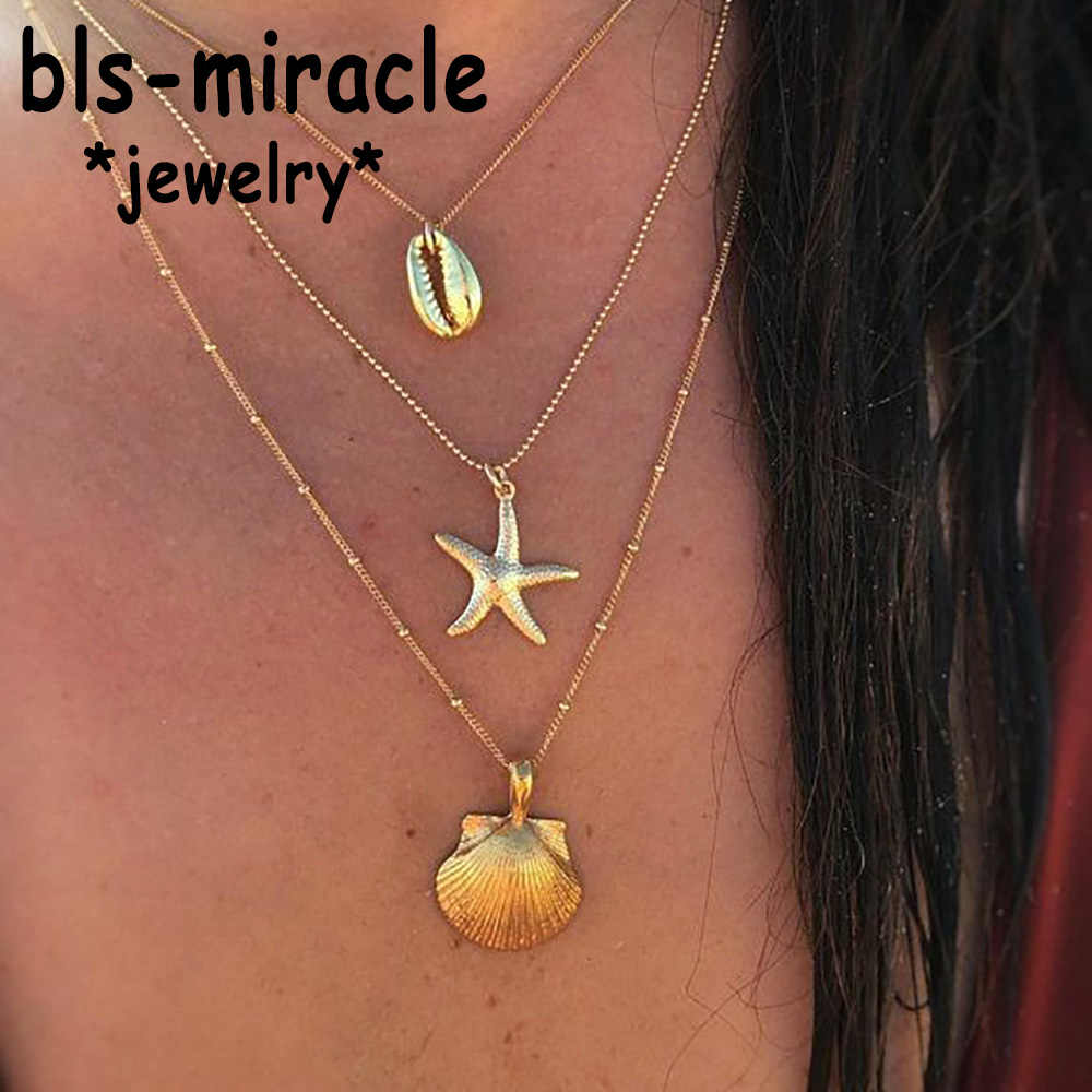 Vintage Starfish Multi layer Necklaces & Pendants For Women Girl Gold  Beach Style Choker Long Necklace 2019 BOHO Jewelry