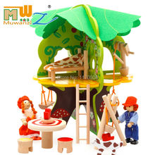 Children's DIY wooden 3D puzzle of tree doll house demolition assembled portfolio model early childhood educational play toys недорого