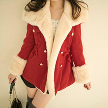 Winter Coat Women 2016 Korean Design Warm Double-Breasted Wool Blend Thin Jacket Women Coat XXL-XXXL Plus size For Student Girl