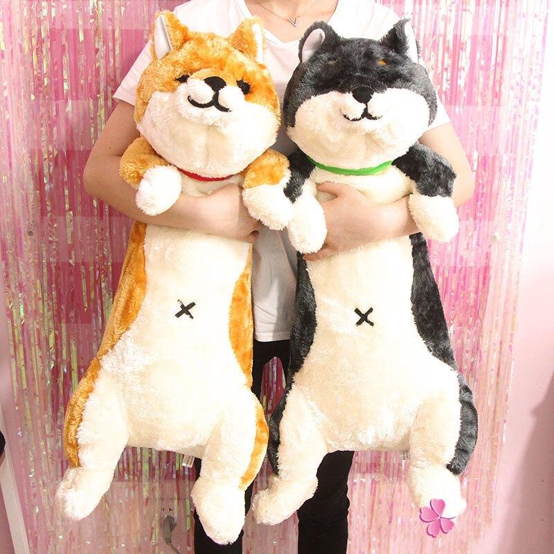 Original mignon Kawaii grand Shiba Inu en peluche poupée grand chien doux coton oreiller animaux en peluche cadeau d'anniversaire de noël enfants jouets