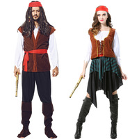 Hot Selling Newest Cosplay, Halloween Adult Costume Show, Pirate Character, Adult Caribbean Pirate Costume.Party Supplies