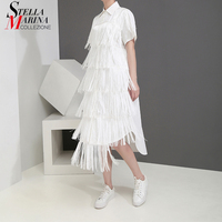 New 2019 Korean Style Women Solid White Summer Shirt Dress With Fringes Stitched Ladies Casual Loose Party Dress Robe Femme 5199