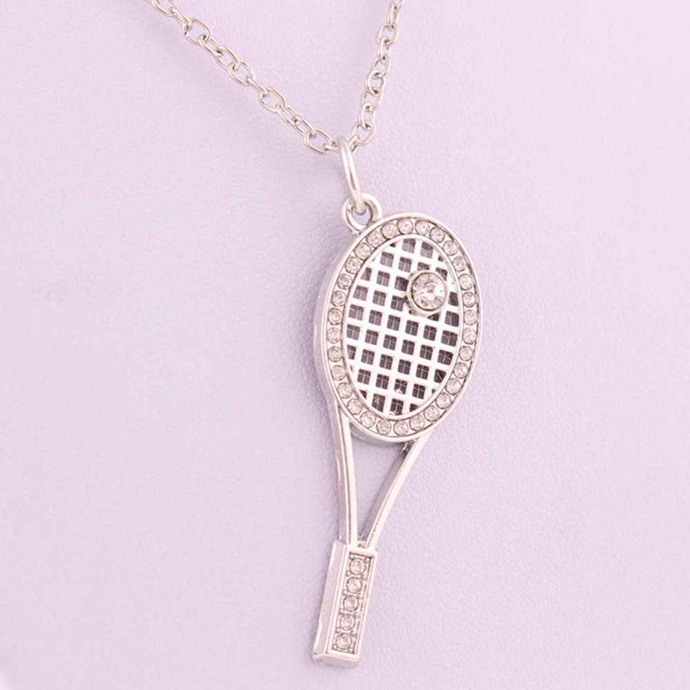 1Pc Necklaces Hot Sale Trendy Cute Crystal Tennis Racket Design Pendant High Quality Chain Unisex Fashion Statement Jewelry