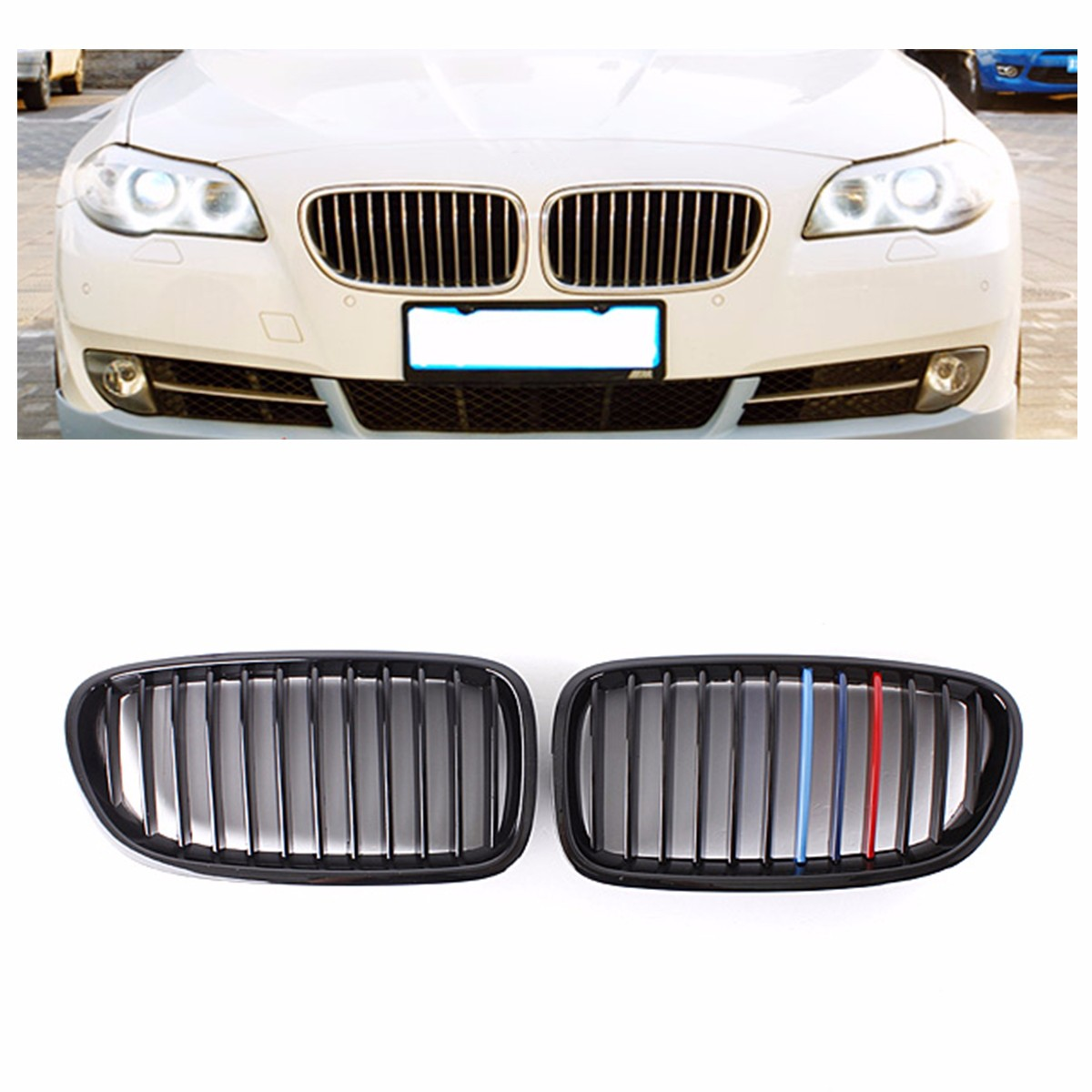 for BMW F10 F11 F18 M5 5 Series 2010 2011 2012 2013 Pair M Color Gloss Black Front Bumper Hood Grill Grille Brand New gloss black front dual line grille grill for bmw f20 f21 1 series 118i 2010 2011 2012 2013 2014
